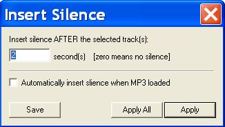 MP3 Joiner - Insert Silence between Tracks